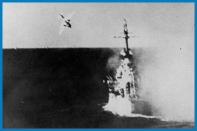 Kamikaze bomber during WWII attack